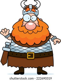 A cartoon illustration of a Viking waving and smiling.