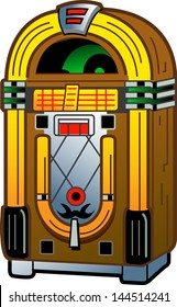 Cartoon Illustration of a Vintage Antique Jukebox
