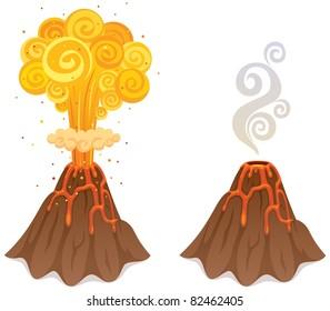 Cartoon illustration of volcano in 2 versions.