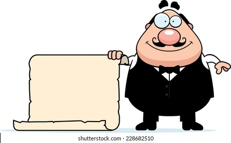 A cartoon illustration of a waiter with a sign.