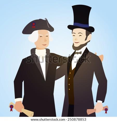 Cartoon Illustration Washington Lincoln Presidents Day Stock Vector
