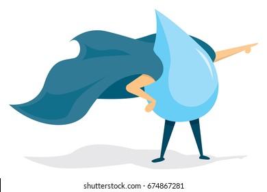 Cartoon illustration of water super hero saving the day