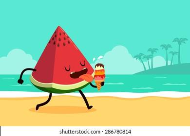 Cartoon illustration of watermelon eating ice cream at the beach