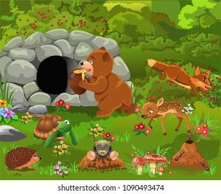 cartoon illustration of wild animals like bear, deer, fox turtle