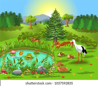 cartoon illustration of wild animals living in the forest and coming to the pond