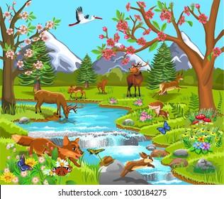 Cartoon illustration of wild animals in a spring natural landscape