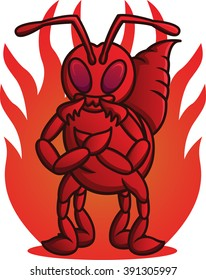 Cartoon illustration of the wild fire ant