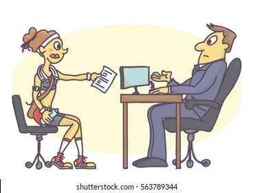 Cartoon illustration of woman at job interview dressed in sport outfit