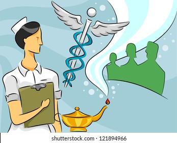 Cartoon Illustration of a Woman Nurse