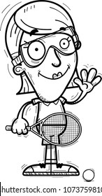 A cartoon illustration of a woman racquetball player waving.