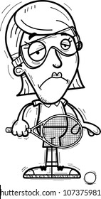 A cartoon illustration of a woman racquetball player looking sad.