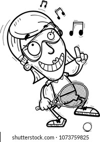 A cartoon illustration of a woman racquetball player dancing.