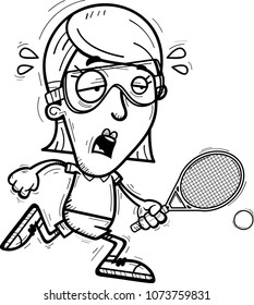 A cartoon illustration of a woman racquetball player running and looking exhausted.