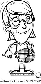 A cartoon illustration of a woman racquetball player looking confident.