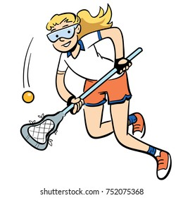 cartoon illustration of a woman running with a lacrosse stick.