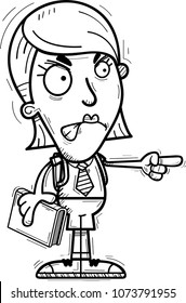 A cartoon illustration of a woman student looking angry and pointing.
