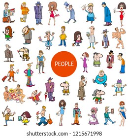 Cartoon Illustration of Women and Men People Characters Huge Set