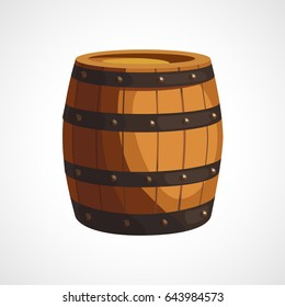 Cartoon illustration of wooden barrels