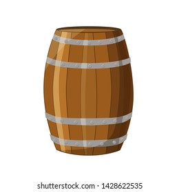 Cartoon illustration of wooden barrels on a white background