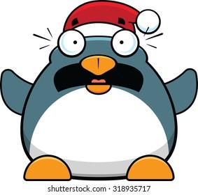 Cartoon illustration of a worried penguin wearing a Santa hat.