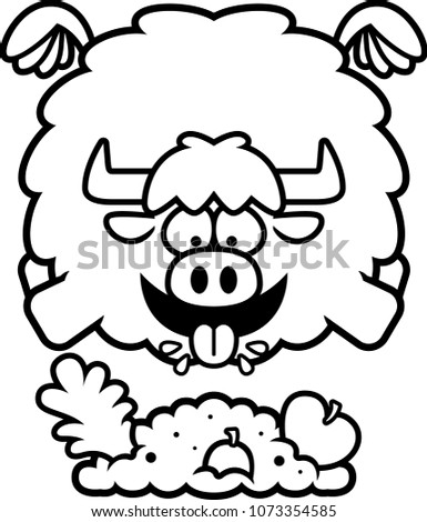 Cartoon Illustration Yak Eating Stock Vector Royalty Free