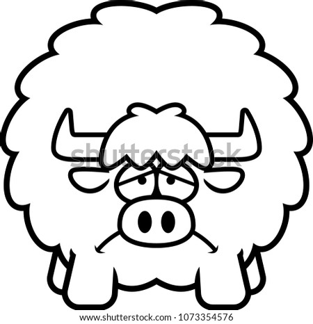 Cartoon Illustration Yak Looking Sad Stock Vector Royalty Free