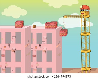 Cartoon illustration of yellow crane with cute face and helmet building a new residential complex of bricks. Vector.