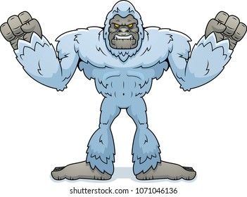 A cartoon illustration of a yeti looking angry.