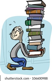 Cartoon illustration of a young man carrying a very tall, heavy stack of books.