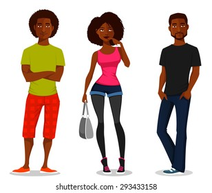 cartoon illustration of young people