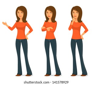 cartoon illustration of a young woman in jeans