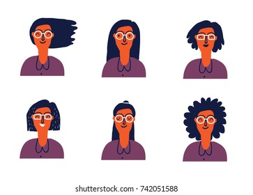 Cartoon illustration of a young woman with the various hairstyle. Facial expression. Vector illustration.