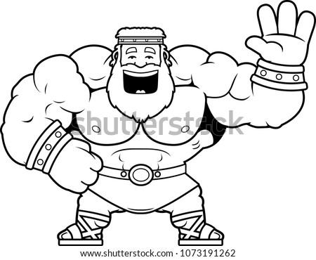 Cartoon Illustration Zeus Waving Stock Vector Royalty Free