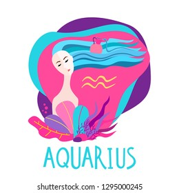 b7c9c0e10b7 Cartoon illustration of zodiac sign Aquarius as a beautiful woman.  Horoscope for girl.