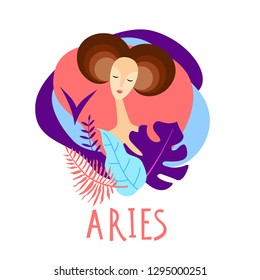 Cartoon illustration of zodiac sign Aries as a beautiful woman. Horoscope for girl.