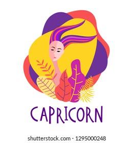 Cartoon illustration of zodiac sign Capricorn as a beautiful woman. Horoscope for girl.