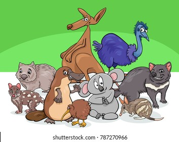 Cartoon Illustrations of Australian Animal Characters Group