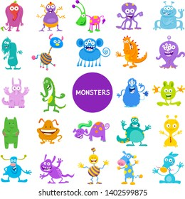 Cartoon Illustrations of Funny Monsters and Frights Fantasy Characters Large Set
