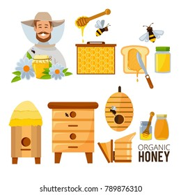 Cartoon illustrations set of beekeeper, beehive and bees. Beehive and natural honey vector