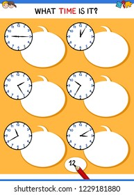 Cartoon Illustrations of Telling Time Educational Task with Clock Face for Kids