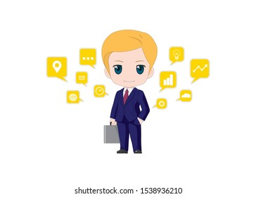 Cartoon image of a business man smiling, designed to look cute with big head in dark blue suit and business icon in balloons. Design for presentation about creativity project. vector illustration