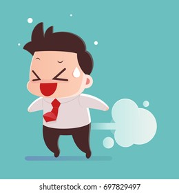 Cartoon Image Of A Businessman A Fart - Illustration And Vector
