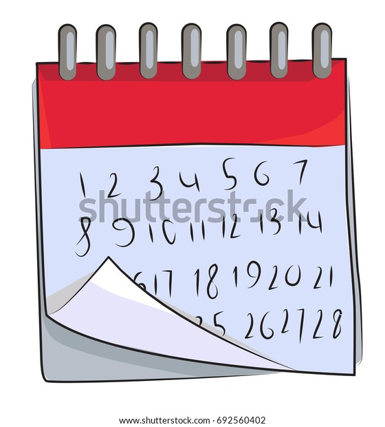 Cartoon image of Calendar Icon. Calendar symbol. An artistic freehand picture.