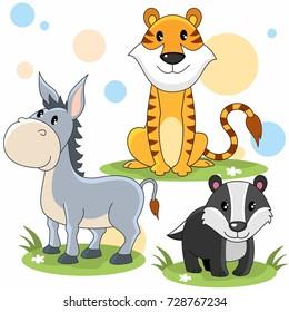 Cartoon image for children tiger, donkey and badger
