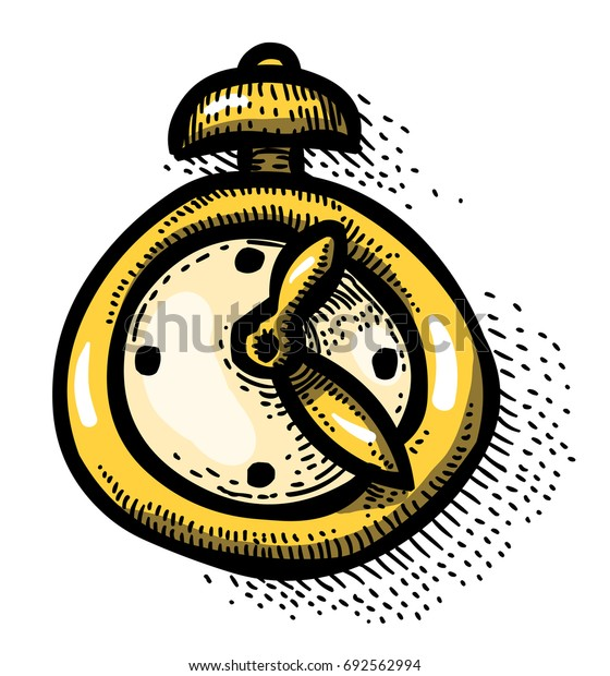 Cartoon image of Clock Icon. Time symbol. An artistic freehand picture.