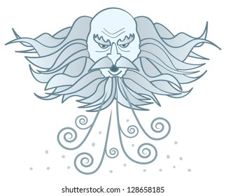 A cartoon image of a cloud-like old man winter blowing cold wind and snow.