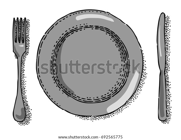 Cartoon image of Dish, fork, knife Icon. Restaurant symbol. An artistic freehand picture.