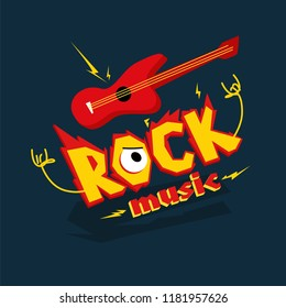 """Cartoon image of an electric guitar and the inscription """"Rock music""""."""