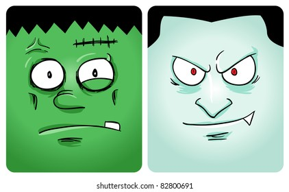 Cartoon image of frankenstein and vampire. See my portfolio for other monster