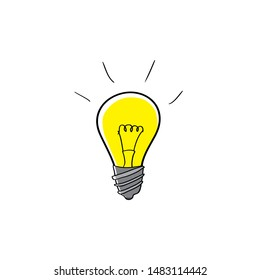 Cartoon image of a light bulb. Symbol of idea and invention.